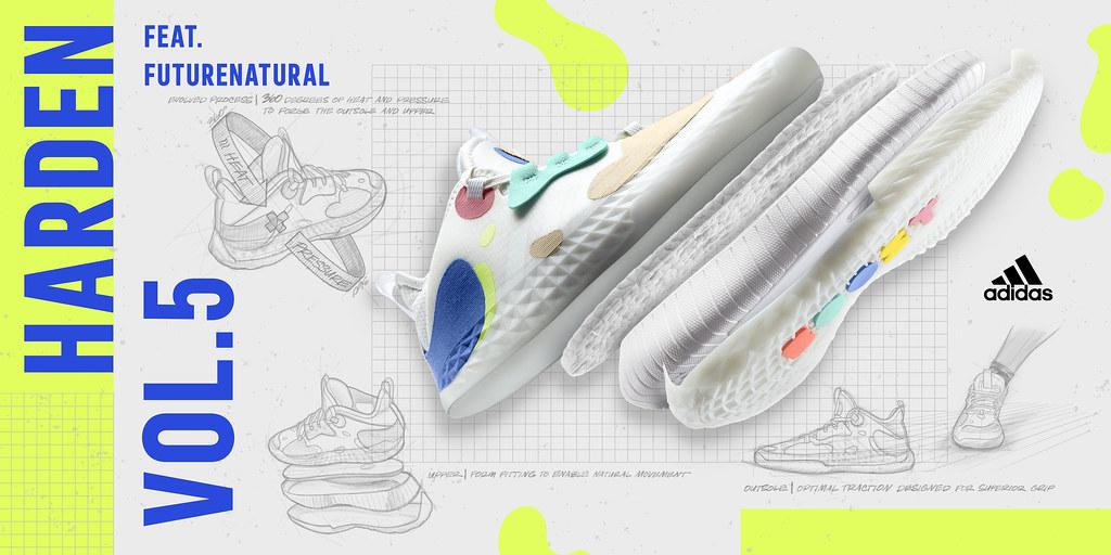 2. adidas Harden Vol.5採用adidas劃時代的Futurenatural創新科技,打造前所未有的貼合腳感,助Harden與所有籃球迷啟動超強爆發力