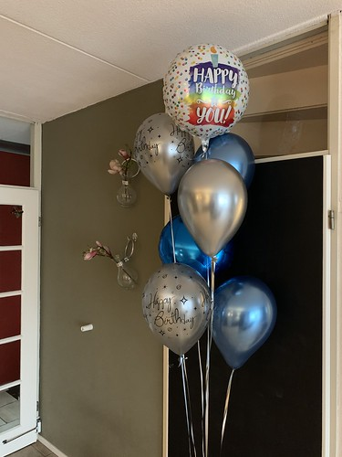 Ballonboeket Verjaardag Zilver Blauw