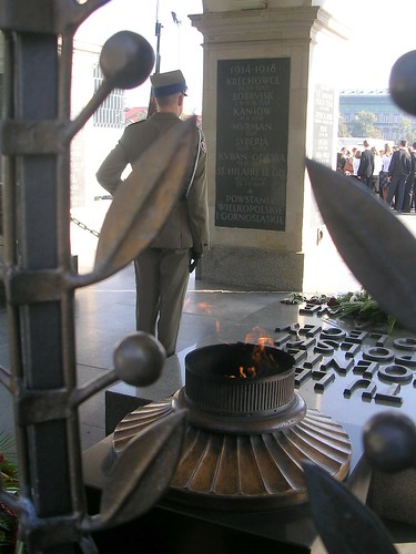The eternal flame. Warsaw at Tomb of the unknown soldier