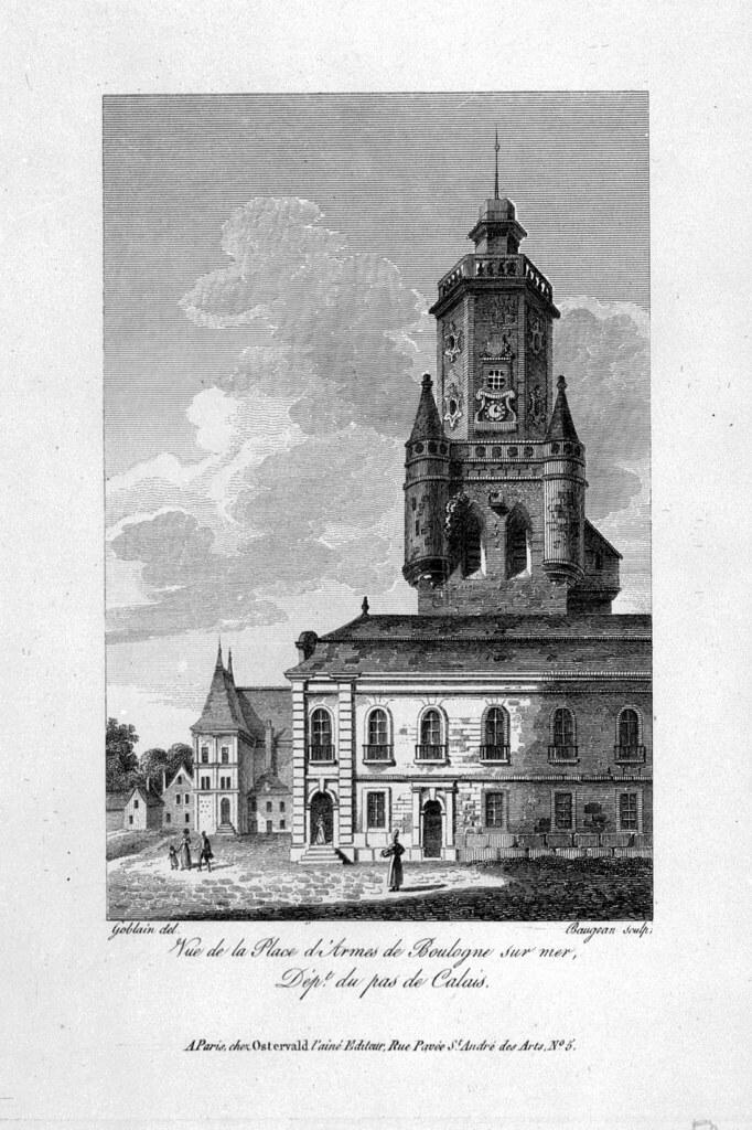 Beffroi vers 1845 Litho Goblain et Baugean