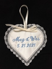Satin Heart Sachet with Lavender Fill, Wedding Day Decor