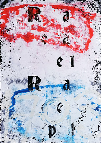 Zavier Ellis 'Repeat (Repeat) IV (Tricolour)', 2021 Acrylic, emulsion, spray paint on photographic gloss print 42x29.7cm