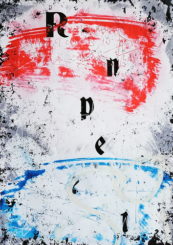 Zavier Ellis 'Repent (Repeat) V (Tricolour)', 2021 Acrylic, emulsion, spray paint on photographic gloss print 42x29.7cm