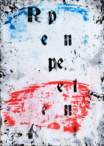 Zavier Ellis 'Repent (Repeat) IV (Tricolour)', 2021 Acrylic, emulsion, spray paint on photographic gloss print 42x29.7cm