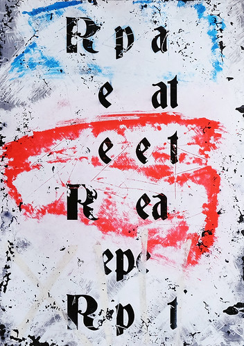 Zavier Ellis 'Repeat (Repeat) III (Tricolour)', 2021 Acrylic, emulsion, spray paint on photographic gloss print 42x29.7cm