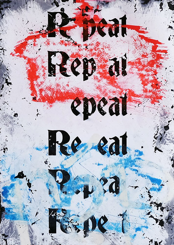 Zavier Ellis 'Repeat (Repeat) I (Tricolour)', 2021 Acrylic, emulsion, spray paint on photographic gloss print 42x29.7cm