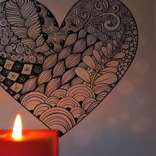 Zen Doodle Heart w. Flame