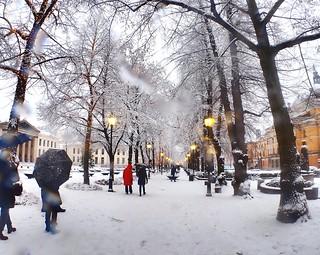 Winter in Oslo. Karl Johans gate.