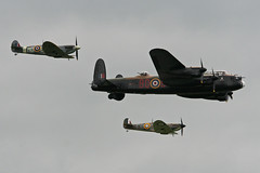 Photo of BBMF Lancaster 'PA474' with Spitfires 'P7350' and 'AB910'. 2012 Waddington Airshow