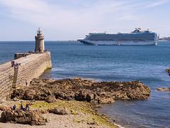 Cruise ship anchored off lighthouse at Castle Cornet - Guernsey
