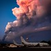 Mt. Etna erupts near aircraft from Patrol Squadron (VP) 46 at Naval Air Station Sigonella.