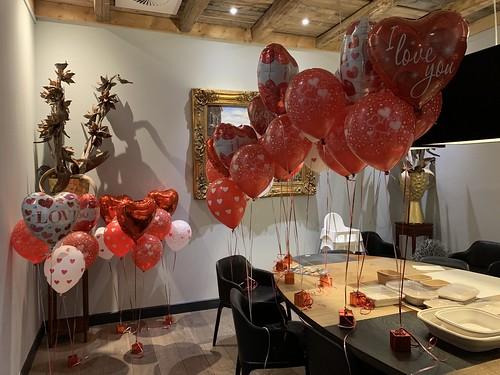 Tafeldecoratie 3ballonnen Valentijnsdag Watertuin Spijkenisse