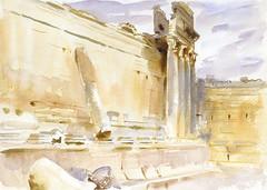 Temple of Bacchus, Baalbek (1906) by John Singer Sargent. Original from The MET Museum. Digitally enhanced by rawpixel.