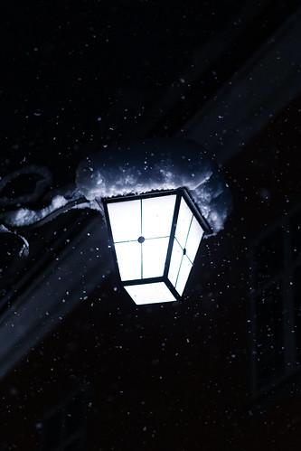 lights at snowfall