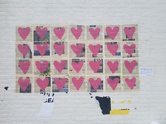 2-23-2021: Hearts on the wall. Somerville, MA