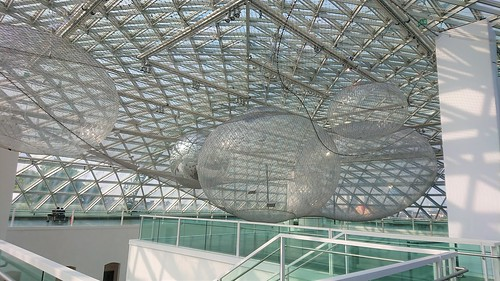 K21 interactive art installation exhibition giant human spiderweb