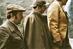 Inspector Lestrade and Herr Peter Steiler accompany Sherlock Holmes (photo by Jean Upton)