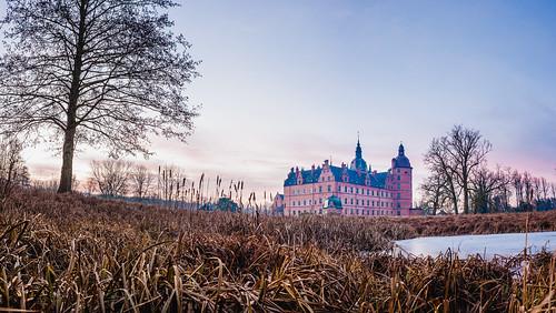 Vallø Castle and Garden in Winter Twilight