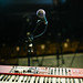 Microphone and nord keyboard on stage.