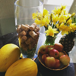 Still life with corks, daffs, melons, pineapple and apples thumbnail