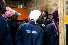 Training new farmers at Simon and Sylvia Kiruja's dairy farm in Meru, Kenya.