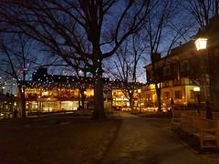 3-2-2021: Twilight gleams in Winthrop Square. Cambridge, MA