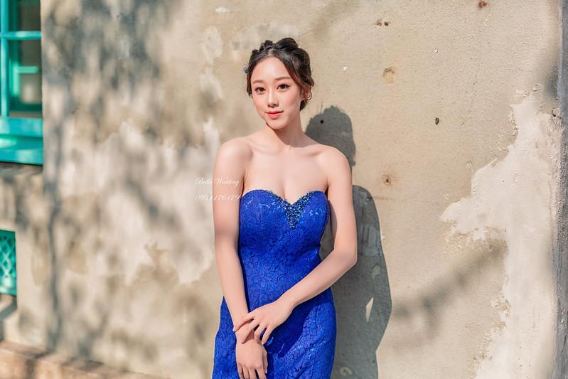 嘉義新秘婚紗創作|嘉義新秘 美術館婚紗 寶藍魚尾禮服 優雅低盤新娘造型