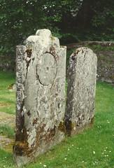 Photo of Kilmichael Glassery church, Kilmartin Valley, Argyll. Cup & ring grave stone c.1990.