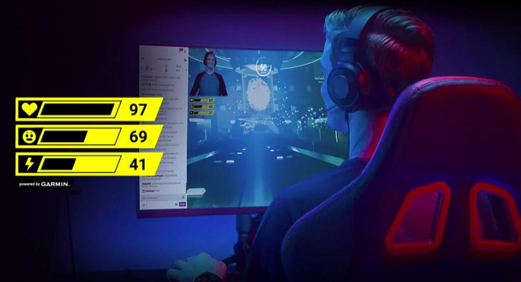 Garmin 「Instinct Esports 電競潮流版」可結合Garmin獨創STR3AMUP!電腦直播程式,即時將心率、壓力指數和身體能量指數顯示在直播畫面上,讓直播主與觀眾一同體驗殺敵快感