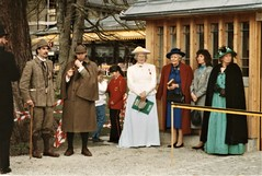 Meiringen - Dr Watson and the Chairman, Shirley Purves, join Dame Jean Conan Doyle's party (photo by Jean Upton)