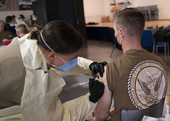 Service members receive COVID-19 vaccines at Camp Lemonnier, Djibouti.