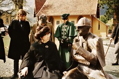 Meiringen - the last day - Jean Upton gets to know the statue of Sherlock Holmes (photo courtesy of Jean Upton)