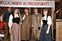 Emmental - Holmes & Watson are welcomed at Friedersmatt in Bowil (photo by Jean Upton)