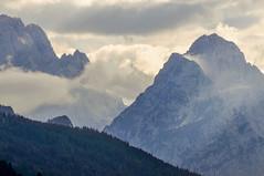 Zugspitzmassiv in Wolken