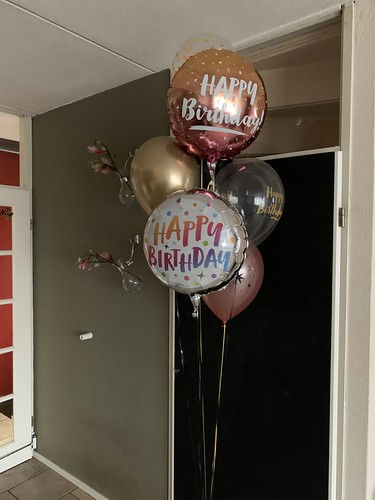 Ballonboeket Verjaardag Goud Rose Goud Chrome