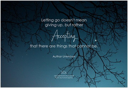 Author Unknown Letting go doesn't mean giving up, but rather accepting that there are things that cannot be