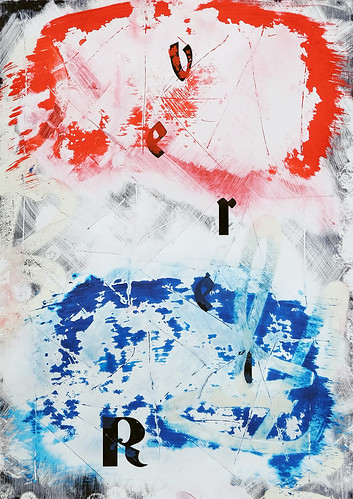 Zavier Ellis 'Revert (Repeat) V (Tricolour)', 2021 Acrylic, emulsion, spray paint on digital gloss print 42x29.7cm