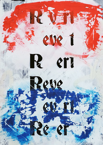 Zavier Ellis 'Revert (Repeat) II (Tricolour)', 2021 Acrylic, emulsion, spray paint on digital gloss print 42x29.7cm