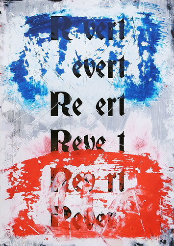 Zavier Ellis 'Revert (Repeat) I (Tricolour)', 2021 Acrylic, emulsion, spray paint on digital gloss print 42x29.7cm