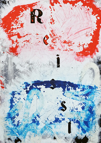 Zavier Ellis 'Resist (Repeat) V (Tricolour)', 2021 Acrylic, emulsion, spray paint on digital gloss print 42x29.7cm