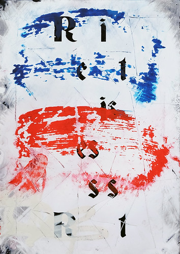 Zavier Ellis 'Resist (Repeat) IV (Tricolour)', 2021 Acrylic, emulsion, spray paint on digital gloss print 42x29.7cm