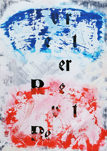 Zavier Ellis 'Revert (Repeat) IV (Tricolour)', 2021 Acrylic, emulsion, spray paint on digital gloss print 42x29.7cm