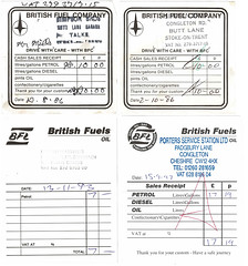 Photo of BFL and BFC petrol receipts, 1986, 1993, and 1997