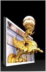 Drake Hotel IL ~ Light Fixture Under the Canopy - Gold Gargoyle