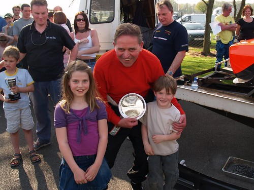 Ray Foley celebrates with grandchildren at Oulton 2007