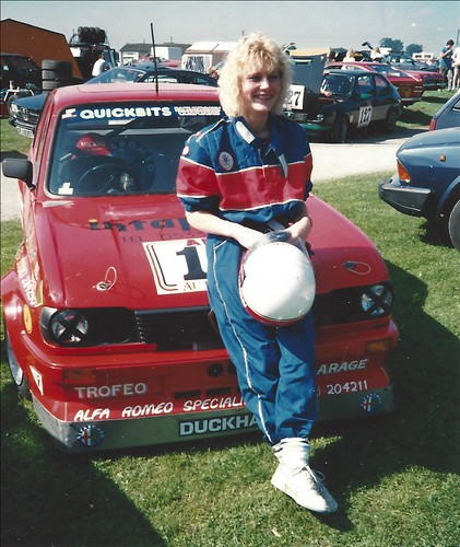 Sally Bishop in 1988 with Nigel Cottee's modified Alfasud