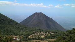 View of Izalco volcano and camp area seen from the side of Santa Ana volcano