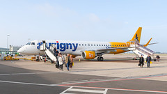 Aurginy Embraer 195 at Guernsey Airport