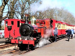 Photo of Isle of Man Railway - A busy scene at Castletown.  No. 4 Loch with the 13:50 from Douglas with the 14:00 from Port Erin behind on the 7th April 2015
