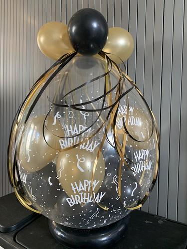 Cadeauballon Verjaardag Zwart Goud